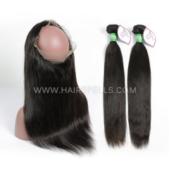 2 Or 3 Bundles With 360 Lace band Frontal Brazilian Straight Hair 100% Unprocessed Virgin  Human Hair Natural Color