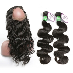 2 Or 3 Bundles With 360 Lace band Frontal Brazilian Body wave Hair 100% Unprocessed Virgin  Human Hair Natural Color