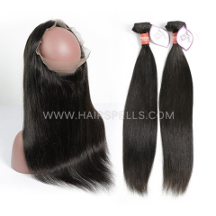 2 Or 3 Bundles With 360 Lace band Frontal Peruvian Straight Hair 100% Unprocessed Virgin Human Hair Natural Color