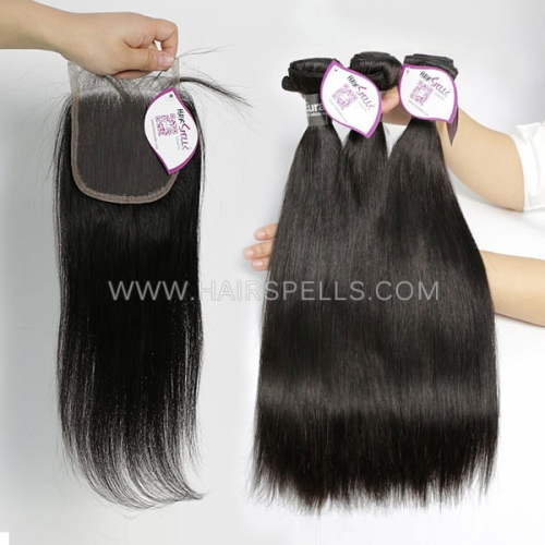 3 Bundles With 4*4 Lace Closure Eurasian Straight Hair 100% Unprocessed Virgin Human Hair Natural Color