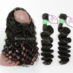 2 Or 3 Bundles With 360 Lace band Frontal Brazilian Loose wave 100% Unprocessed Virgin  Human Hair Natural Color