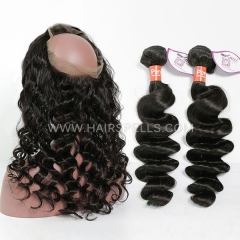 2 Or 3 Bundles With 360 Lace band Frontal Peruvian Loose Wave 100% Unprocessed Virgin Human Hair Natural Color