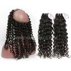 2 Or 3 Bundles With 360 Lace band Frontal Brazilian Italian Curly Hair 100% Unprocessed Virgin Human Hair Natural Color