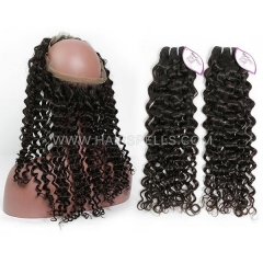 2 Or 3 Bundles With 360 Lace band Frontal Cambodian Italian Curly Hair 100% Unprocessed Virgin Human Hair Natural Color