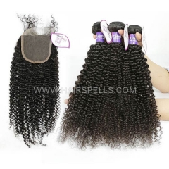 4 Bundles With 4*4 Lace Closure  Cambodian Kinky Curly Hair 100% Unprocessed Virgin  Human Hair Natural Color
