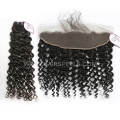 3 Or 4 Bundles With 13*4 Lace Frontal Cambodian Italian Curly Hair 100% Unprocessed Virgin Human Hair Natural Color