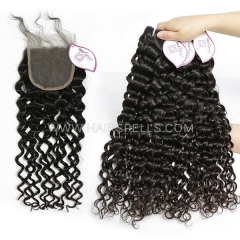3 Bundles With 4*4 Lace Closure  Cambodian Italian Curly Hair 100% Unprocessed Virgin  Human Hair Natural Color
