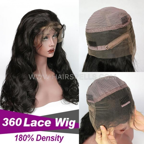 360 Lace wig 180% density  Virgin Human Hair Body Wave Natural Color