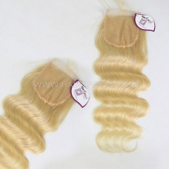 613 Color Lace Top Closure 4X4 Body Wave Virgin Human Hair Blonde Color