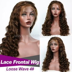 130% density Color #4 Top Qaulity Virgin Human Hair Loose Wave Lace Frontal Wig Slightly Pre Plucked With Baby Hair