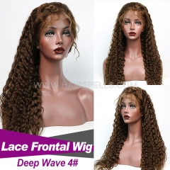 130% density  Color #4 Top Quality Virgin Human Hair Deep Wave Lace Frontal Wig Slightly Pre Plucked With Baby Hair