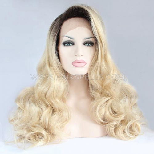 Blonde With Dark Roots Synthetic Lace Front Wig With Natural Hairline Glueless For Women
