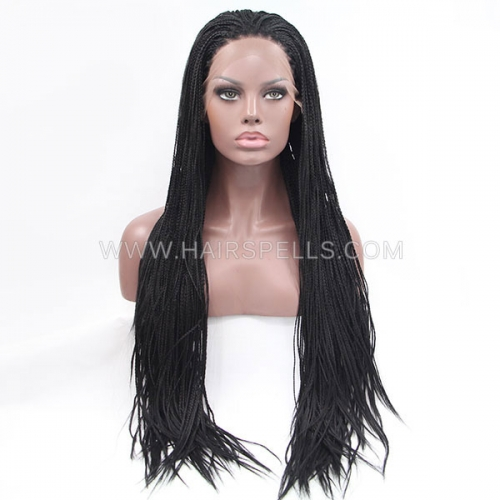 Long Braided African American Box Braids Wig Synthetic Lace Frontal Wigs Black Color