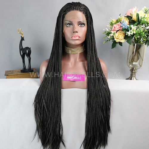 Box Braids Synthetic Lace Frontal Wigs Black Color