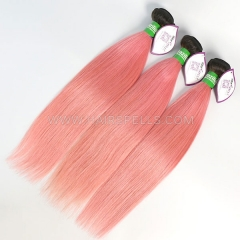 1B/Pink Ombre Color 3 Bundles Brazilian Straight Hair Virgin Human Hair