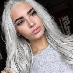 Light Grey Synthetic Lace Front Wig