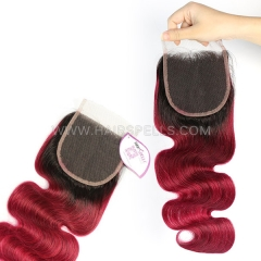 1B/Burgundy Color Lace Top Closure 4X4 Body Wave Virgin Human Hair