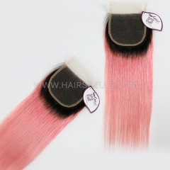 1B/Pink Color Lace Top Closure 4X4 Straight Hair Virgin Human Hair