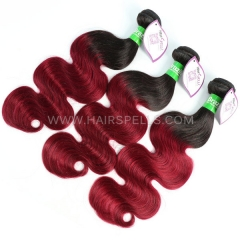 1B/Burgundy Ombre Color 3 Bundles Brazilian Body wave Hair Virgin  Human Hair