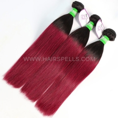 1B/Burgundy Ombre Color 3 Bundles Brazilian Straight Hair Virgin Human Hair