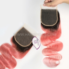 1B/Pink Color Lace Top Closure 4X4 Body Wave Virgin Human Hair
