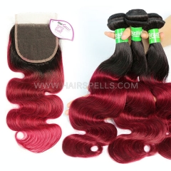 1B/Burgundy Ombre Color 3 Bundles With 4*4 Lace Closure Brazilian Body wave Hair Virgin  Human Hair