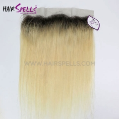 Ombre Blonde Color 1B/613 Lace Frontal Closure 13X4 Straight Hair Virgin Human Hair
