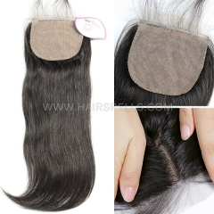 Silk Base Closure 4X4 Straight Hair Virgin Human Hair Natural Color
