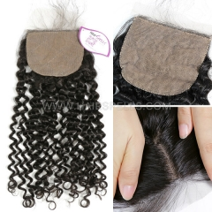 Silk Base Closure 4X4 Deep Curly Hair Virgin Human Hair Natural Color