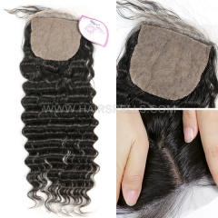 Silk Base Closure 4X4 Deep Wave Virgin Human Hair Natural Color