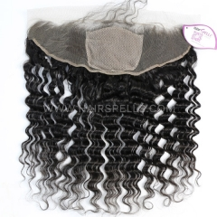 Silk Base Frontal Closure 13X4 Deep Wave Virgin Human Hair Natural Color