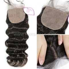 Silk Base Closure 4X4 Loose Wave Virgin Human Hair Natural Color