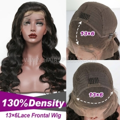 13X6 Lace Front Wig Virgin Human Hair Natural Color Customize 4-5 days