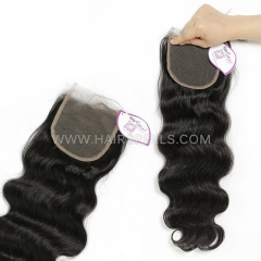 4*4 Lace Top Closure Pre Plucked Natural Hairline Body Wave Virgin Human Hair Natural Color