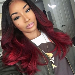 1B/Red Color Synthetic Lace Front Wig