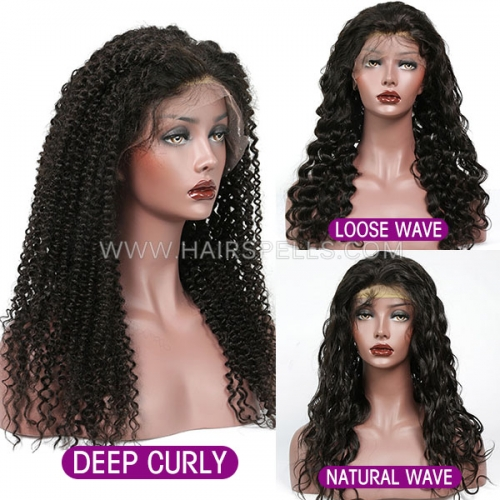 Transparent Lace 130% density Virgin Human Hair Full Lace Wig Natural Color