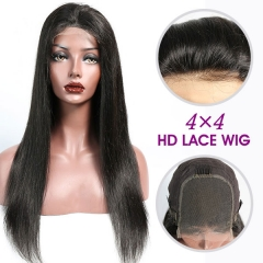 130% density HD Lace Closure Wigs Virgin Human Hair Pre Plucked Hairline With Baby Hair