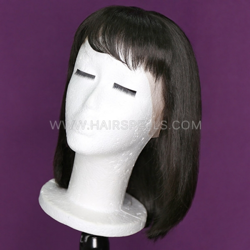 130% Density Bob Wig For Small Head Circuference 19.5 inch Straight Lace Frontal Wig With Bangs