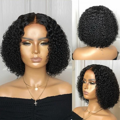 180% Density Small Kinky Curly Wig Aristocratic Style Virgin Human Hair Bob Wigs Lace Frontal Wig Natural Color