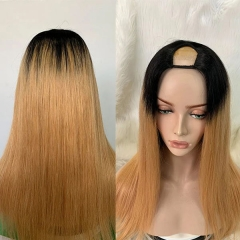 Ombre Color 1B/27 U Part Wig Pre Plucked Bleached Lightly Virgin Human Hair Picture Wig 7 Days Customization