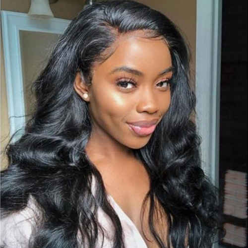 130% density Virgin Human Hair Body Wave Lace Frontal Wig Natural Color