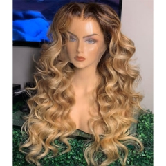 Ombre Beige Color Loose Wave Pre Plucked Bleached Lightly Virgin Human Hair Picture Wig 7 Days Customization