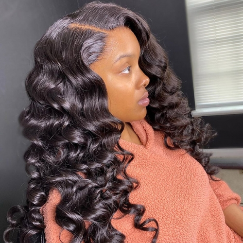 Pre Plucked Bleached Thick Sewing Lace Wigs 180% Density Closure Wigs Human Hair Wigs With Elastic Band Straight/Body/Loose/Deep/Curly/Italian Curly