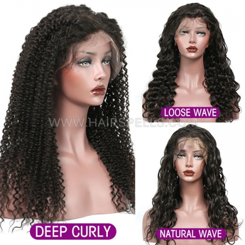 130% density Full Lace Wig Virgin Human Hair Natural Color