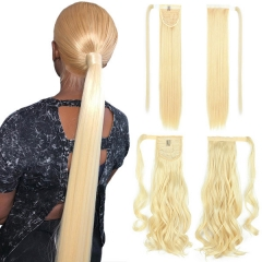 1 Piece Ponytail #613 Blonde Color With Magic Stickers Clip Ins 100% Virgin Human Hair Extension