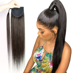 1 Piece Ponytail Straight Hair With Magic Stickers Clip Ins 100% Virgin Human Hair Extension