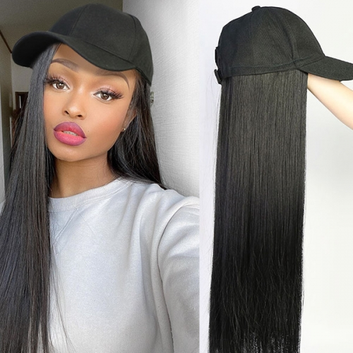 Baseball Cap With Straight Hair 100% Virgin Human Hair Extension Hat Wig Adjustable Sizes