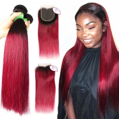 1B/Burgundy Ombre Color 3 Bundles With 4*4 Lace Closure Brazilian Straight Hair Virgin Human Hair