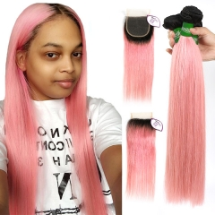 1B/Pink Color 3 Bundles With 4*4 Lace Closure Brazilian Straight Hair Virgin  Human Hair Ombre Color