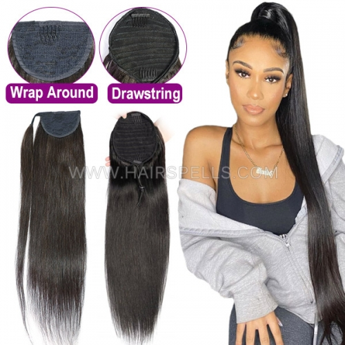 Drawstring Ponytail Wrap Around Clip In 100% Virgin Human Hair Extension